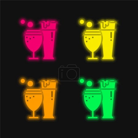 Beer four color glowing neon vector icon