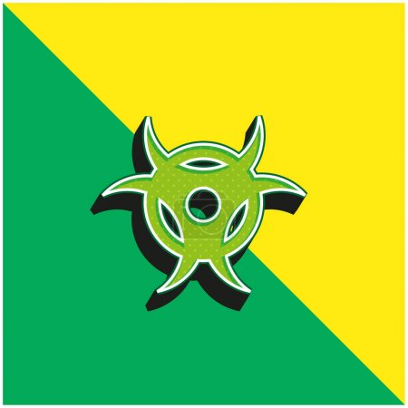 Illustration pour Biohazard Logo vectoriel 3D moderne vert et jaune - image libre de droit