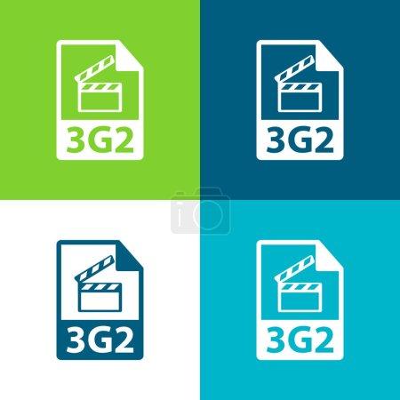 Illustration for 3g2 File Format Symbol Flat four color minimal icon set - Royalty Free Image