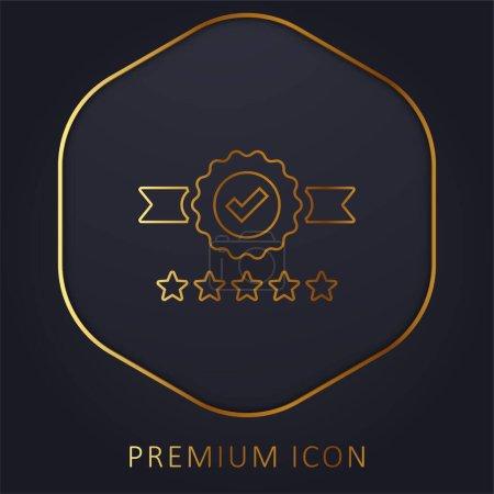 Illustration for Badge golden line premium logo or icon - Royalty Free Image