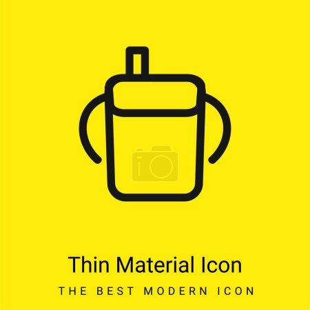 Photo pour Bébé bouteille à boire contour avec poignées latérales icône matérielle jaune vif minimale - image libre de droit