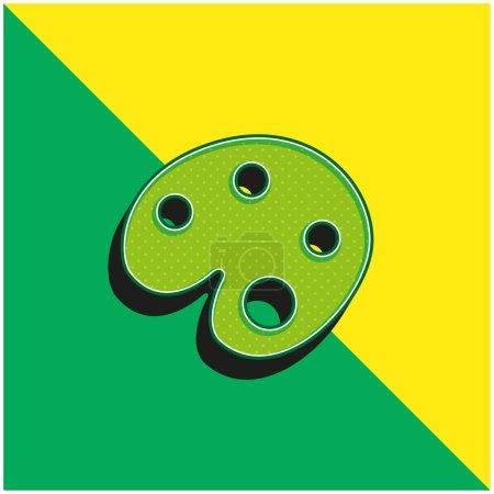 Illustration pour Artiste Peinture Palette Vert et jaune moderne icône vectorielle 3d logo - image libre de droit