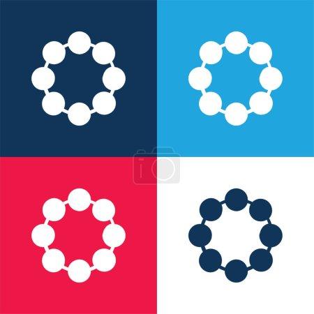 Photo pour Perle bleu et rouge quatre couleurs minimum jeu d'icônes - image libre de droit