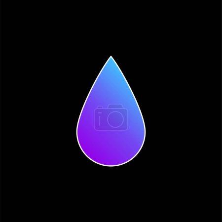 Illustration pour Icône vectorielle de dégradé bleu en forme de goutte d'encre noire - image libre de droit