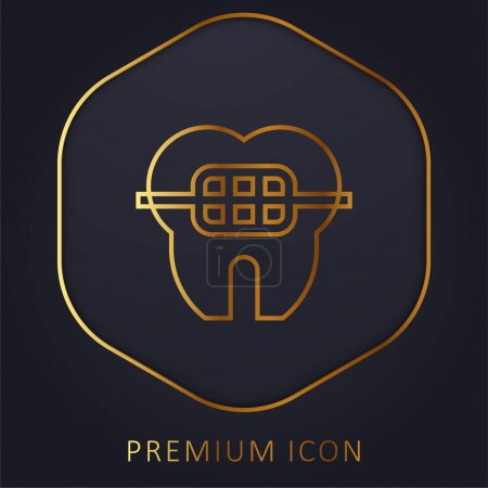 Illustration pour Braces ligne d'or logo premium ou icône - image libre de droit