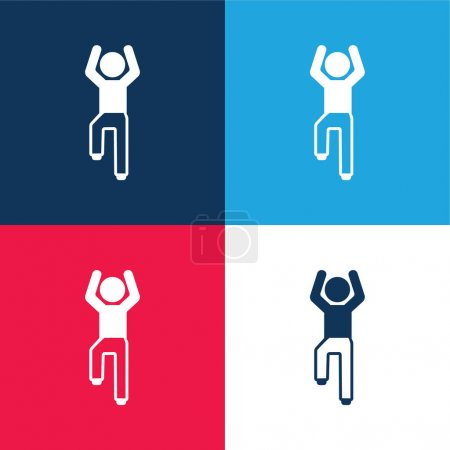 Boy Flexing Arms And One Leg blue and red four color minimal icon set