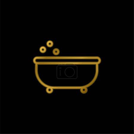 Bañera Esquema chapado en oro icono metálico o logo vector