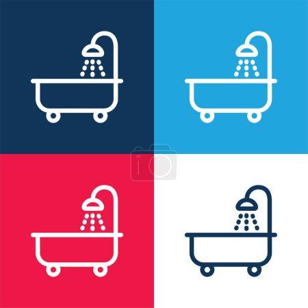 Tube de bain avec douche bleu et rouge quatre couleurs minimum icône ensemble