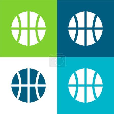 Ball Flat four color minimal icon set