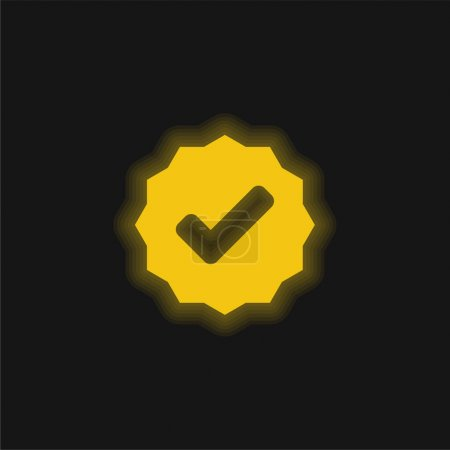 Approved Signal yellow glowing neon icon