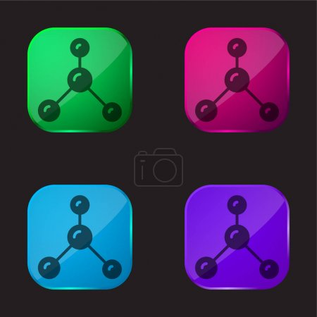 Illustration for Atoms four color glass button icon - Royalty Free Image