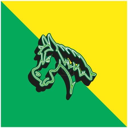 Illustration pour Angry Horse Face Side View Outline Logo vectoriel 3D moderne vert et jaune - image libre de droit