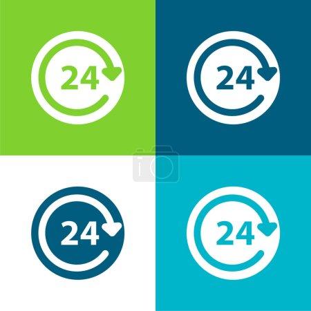Illustration pour Service quotidien 24 heures Ensemble d'icônes minimal plat quatre couleurs - image libre de droit