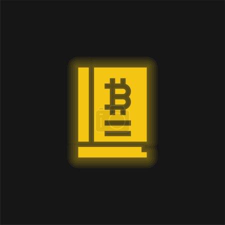 Illustration pour Bitcoin jaune brillant icône néon - image libre de droit