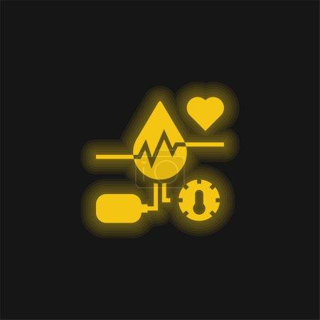 Illustration pour Icône néon jaune sang brillant - image libre de droit
