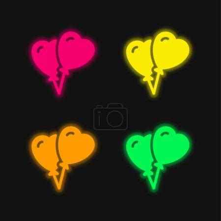 Illustration pour Ballons quatre couleurs rougeoyantes icône vectorielle néon - image libre de droit