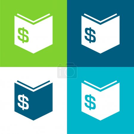 Illustration for Book Of Economy With Dollar Money Sign Flat four color minimal icon set - Royalty Free Image