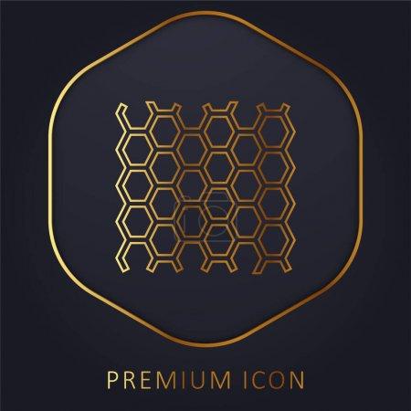Photo pour Texture du panneau d'abeilles ligne dorée logo premium ou icône - image libre de droit