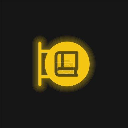 Illustration pour Librairie jaune brillant icône néon - image libre de droit