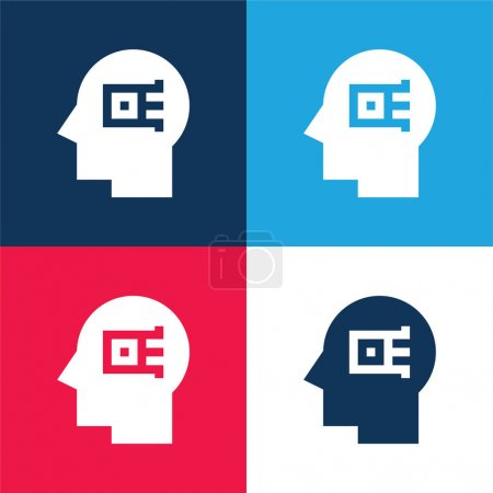 Illustration for Artificial Intelligence blue and red four color minimal icon set - Royalty Free Image