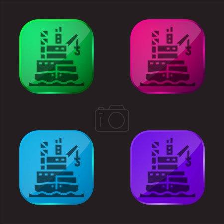 Photo pour Barge icône bouton en verre quatre couleurs - image libre de droit