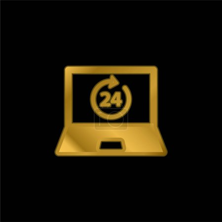 24 Hours On Laptop Screen gold plated metalic icon or logo vector