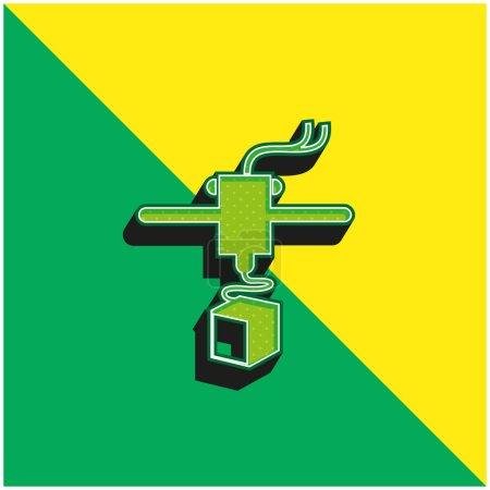 Photo pour Imprimante 3D Variante Logo vectoriel 3d moderne vert et jaune - image libre de droit