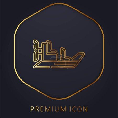 Illustration for Boat golden line premium logo or icon - Royalty Free Image