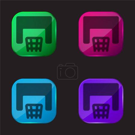 Illustration pour Basketball icône bouton en verre quatre couleurs - image libre de droit