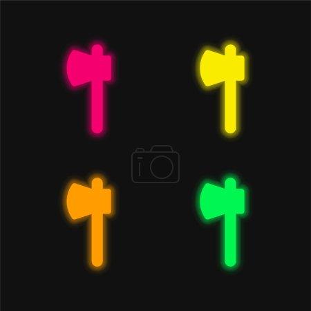 Illustration pour Hache quatre couleur brillant icône vectorielle néon - image libre de droit