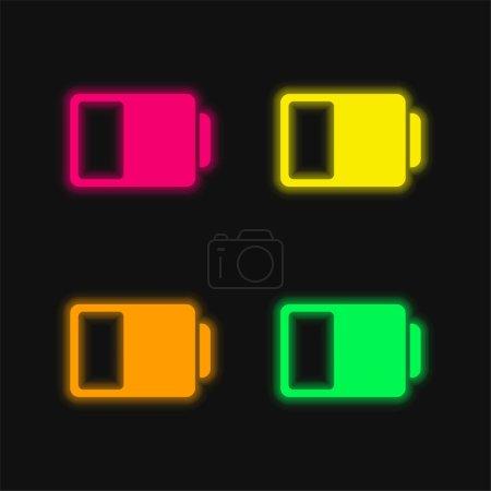 Photo pour Symbole d'état de la batterie icône vectorielle néon éclatante de quatre couleurs - image libre de droit