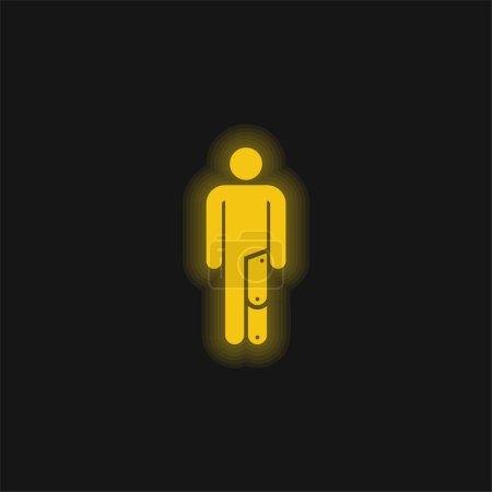 Illustration pour Icône néon jaune amputé - image libre de droit