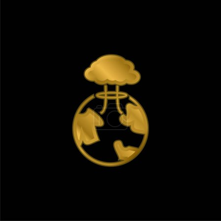 Illustration for Bomb Exploding On Earth gold plated metalic icon or logo vector - Royalty Free Image