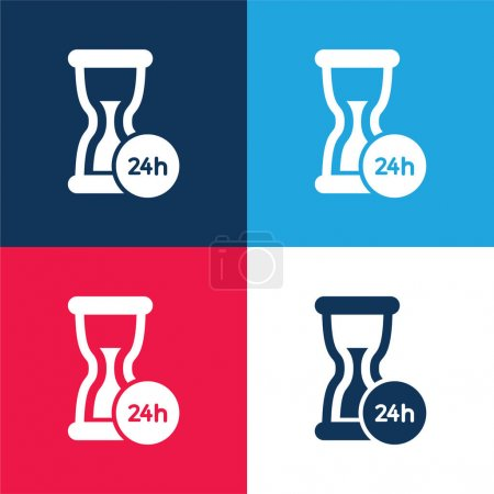 24 Hours Support blue and red four color minimal icon set