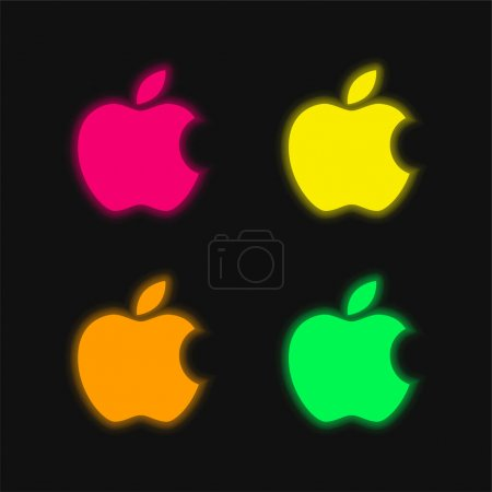 Apple Big Logo four color glowing neon vector icon