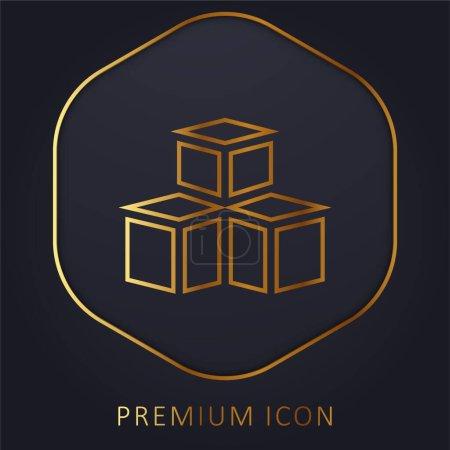 Photo pour Modèle 3d ligne d'or logo premium ou icône - image libre de droit