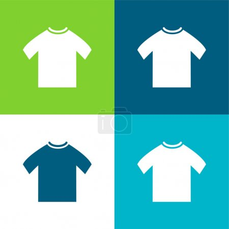 Illustration pour T-shirt noir pour homme Ensemble d'icônes minimal plat quatre couleurs - image libre de droit