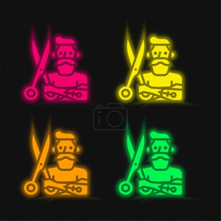 Illustration pour Barber quatre couleur brillant icône vectorielle néon - image libre de droit