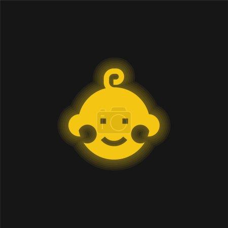 Photo pour Bébé jaune brillant icône néon - image libre de droit