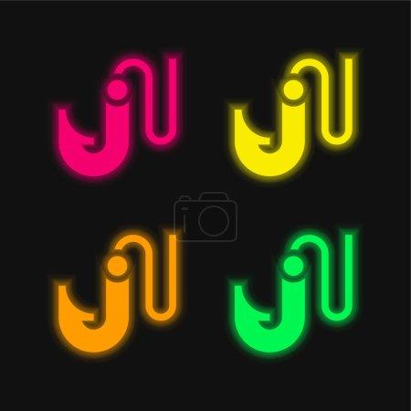 Illustration pour Appât quatre couleur brillant icône vectorielle néon - image libre de droit