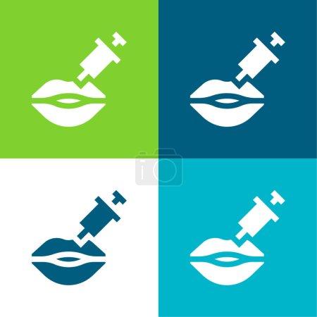 Botox Flat four color minimal icon set