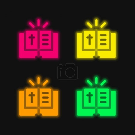 Photo for Bible four color glowing neon vector icon - Royalty Free Image