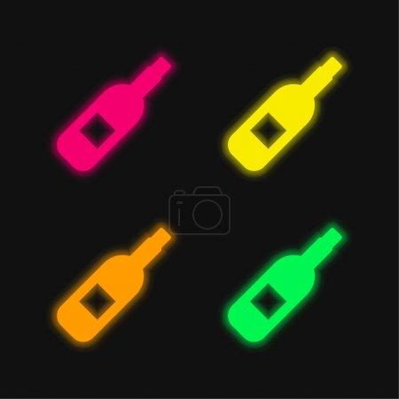 Illustration pour Alcool quatre couleurs brillant néon vecteur icône - image libre de droit