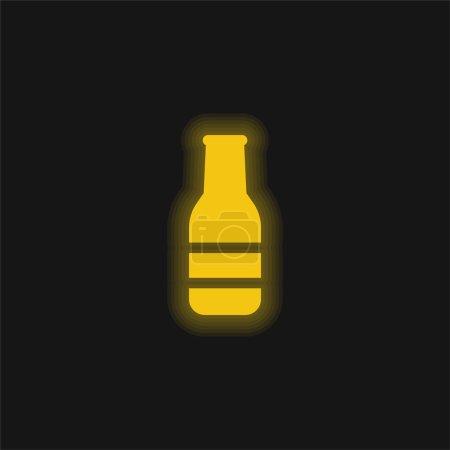 Illustration pour Bouteille de bière jaune brillant icône néon - image libre de droit