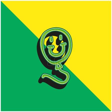 Jouet dessiné à la main ballon avec visage souriant Logo vectoriel 3d moderne vert et jaune