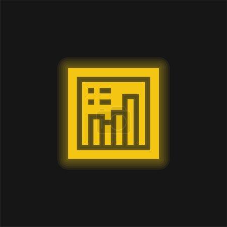 Photo pour Diagramme à barres jaune brillant icône néon - image libre de droit