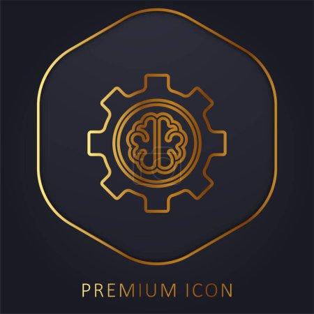 Photo pour Intelligence artificielle ligne d'or logo premium ou icône - image libre de droit