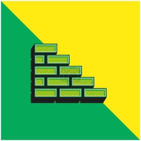 Brickwall Green and yellow modern 3d vector icon logo