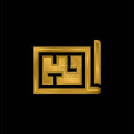 Architecture icône métallique plaqué or ou logo vecteur
