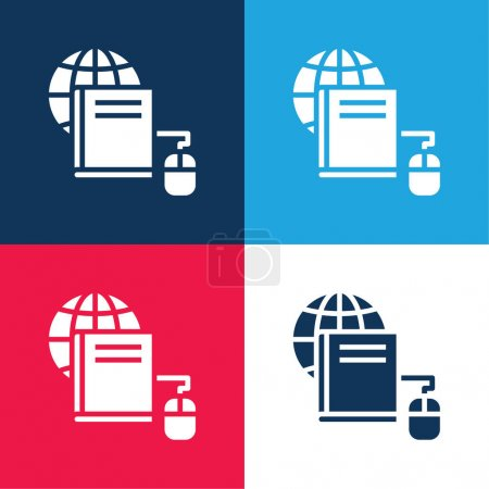 Book blue and red four color minimal icon set